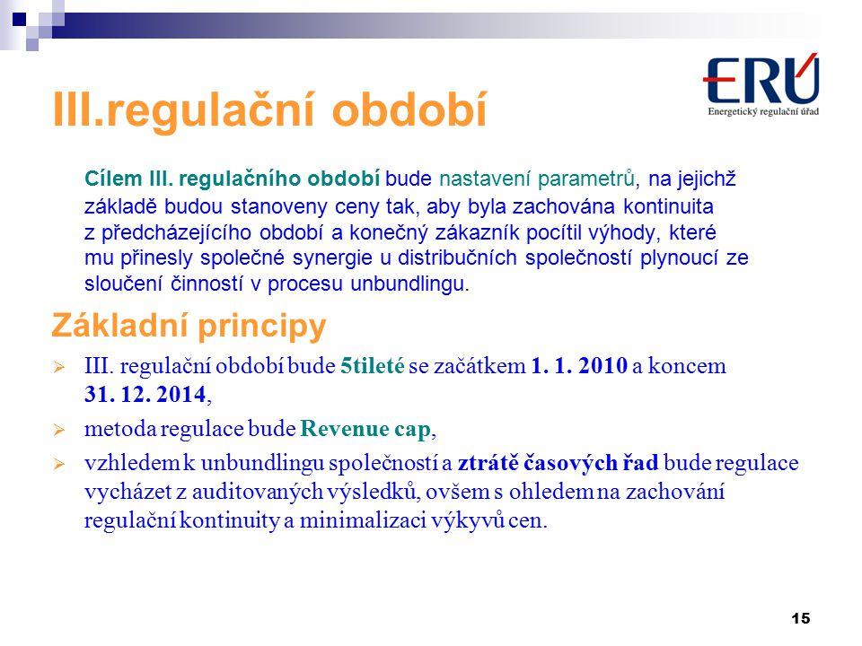 15 III.regulační období Cílem III.