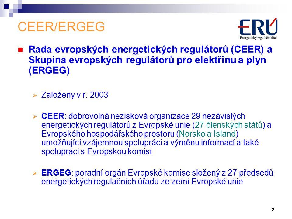 2 CEER/ERGEG Rada evropských energetických regulátorů (CEER) a Skupina evropských regulátorů pro elektřinu a plyn (ERGEG)  Založeny v r.