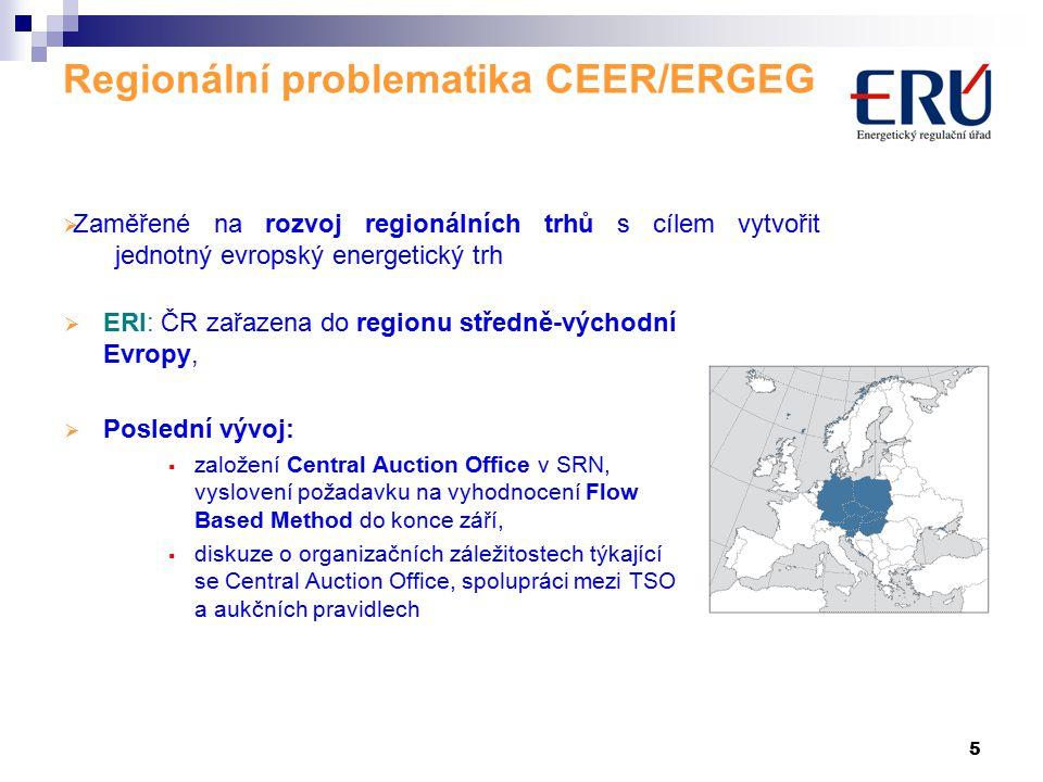 5 Regionální problematika CEER/ERGEG  ERI: ČR zařazena do regionu středně-východní Evropy,  Poslední vývoj:  založení Central Auction Office v SRN, vyslovení požadavku na vyhodnocení Flow Based Method do konce září,  diskuze o organizačních záležitostech týkající se Central Auction Office, spolupráci mezi TSO a aukčních pravidlech  Zaměřené na rozvoj regionálních trhů s cílem vytvořit jednotný evropský energetický trh