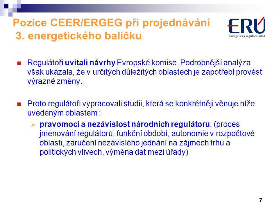 7 Pozice CEER/ERGEG při projednávání 3.