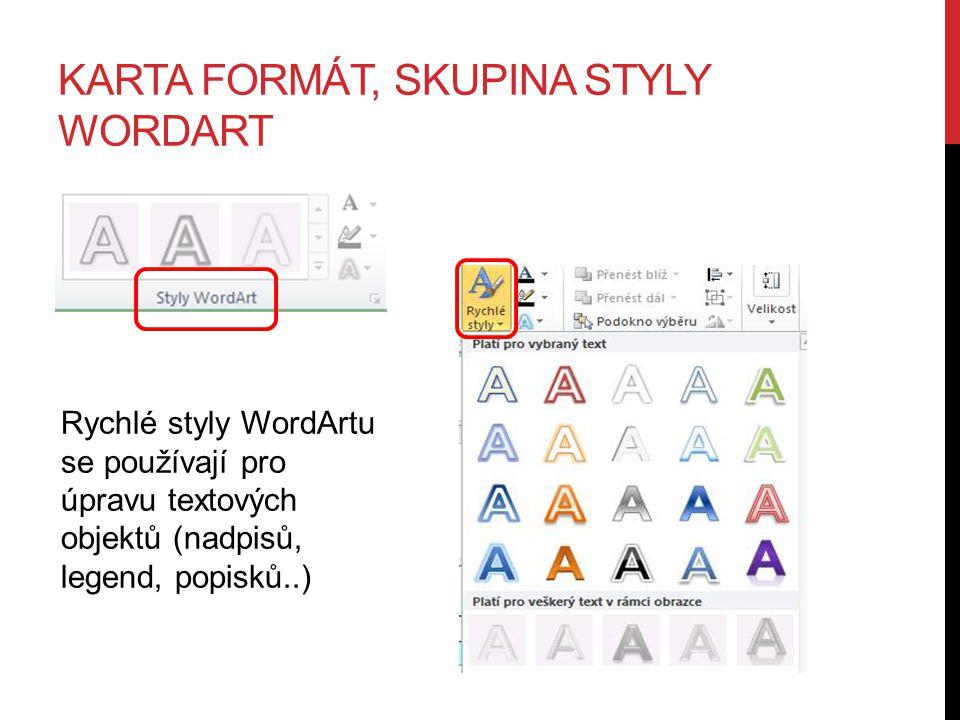 KARTA FORMÁT, SKUPINA STYLY WORDART Rychlé styly WordArtu se používají pro úpravu textových objektů (nadpisů, legend, popisků..)