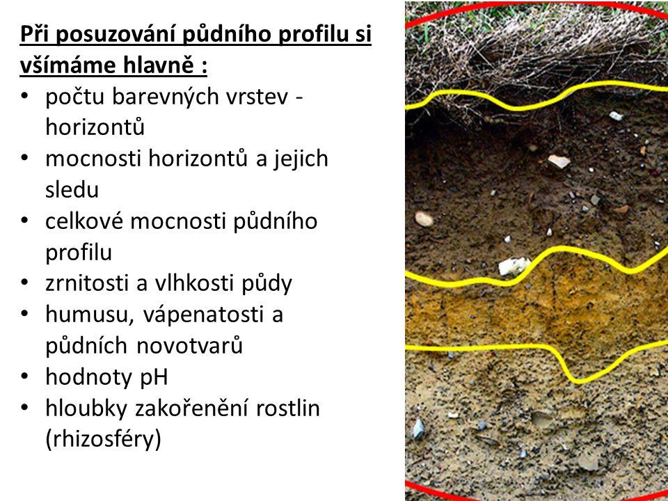 Při posuzování půdního profilu si všímáme hlavně : počtu barevných vrstev - horizontů mocnosti horizontů a jejich sledu celkové mocnosti půdního profi