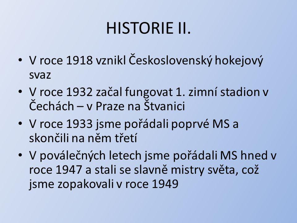 HISTORIE II. V roce 1918 vznikl Československý hokejový svaz V roce 1932 začal fungovat 1. zimní stadion v Čechách – v Praze na Štvanici V roce 1933 j