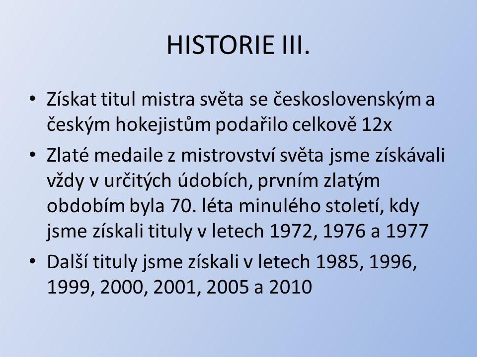 HISTORIE III. Získat titul mistra světa se československým a českým hokejistům podařilo celkově 12x Zlaté medaile z mistrovství světa jsme získávali v