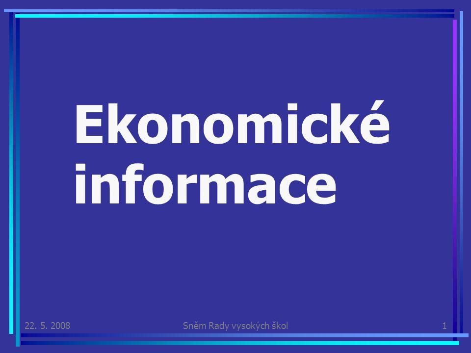 22. 5. 2008Sněm Rady vysokých škol1 Ekonomické informace