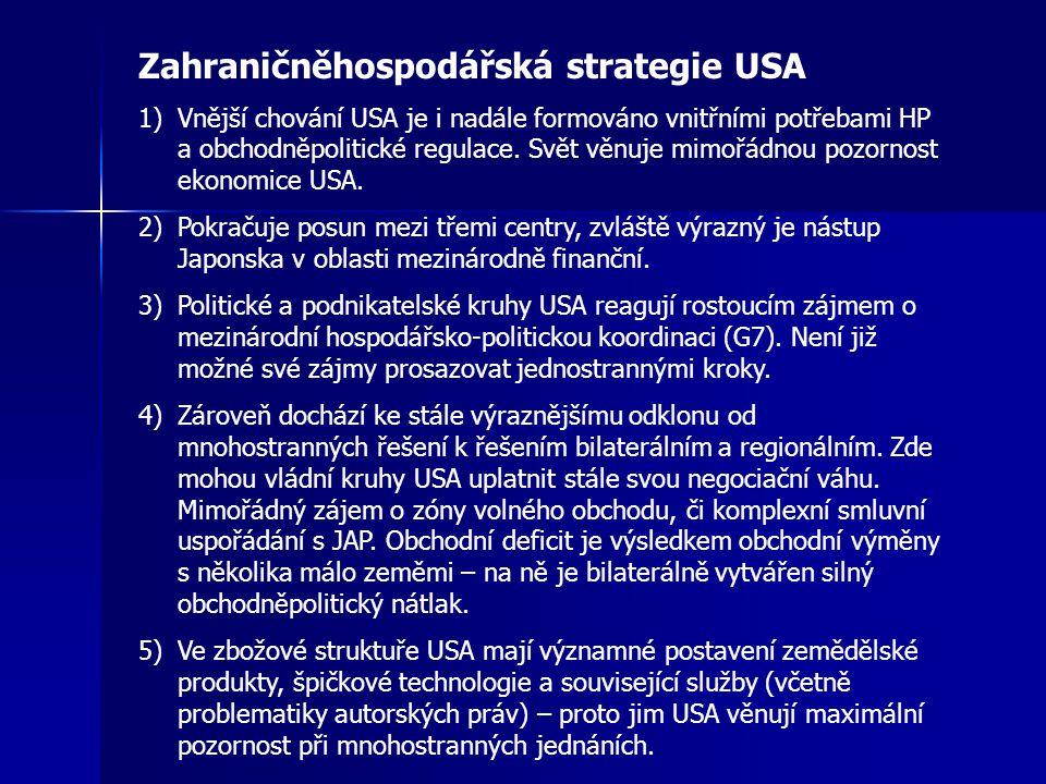 Zahraničněhospodářská strategie USA 1)Vnější chování USA je i nadále formováno vnitřními potřebami HP a obchodněpolitické regulace. Svět věnuje mimořá