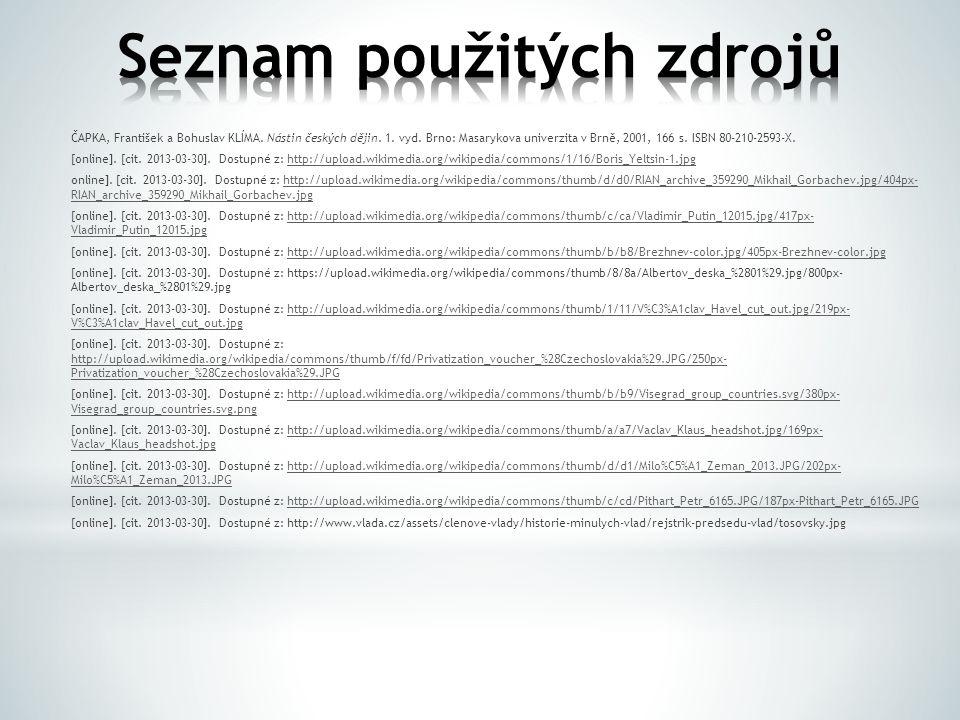 ČAPKA, František a Bohuslav KLÍMA. Nástin českých dějin.