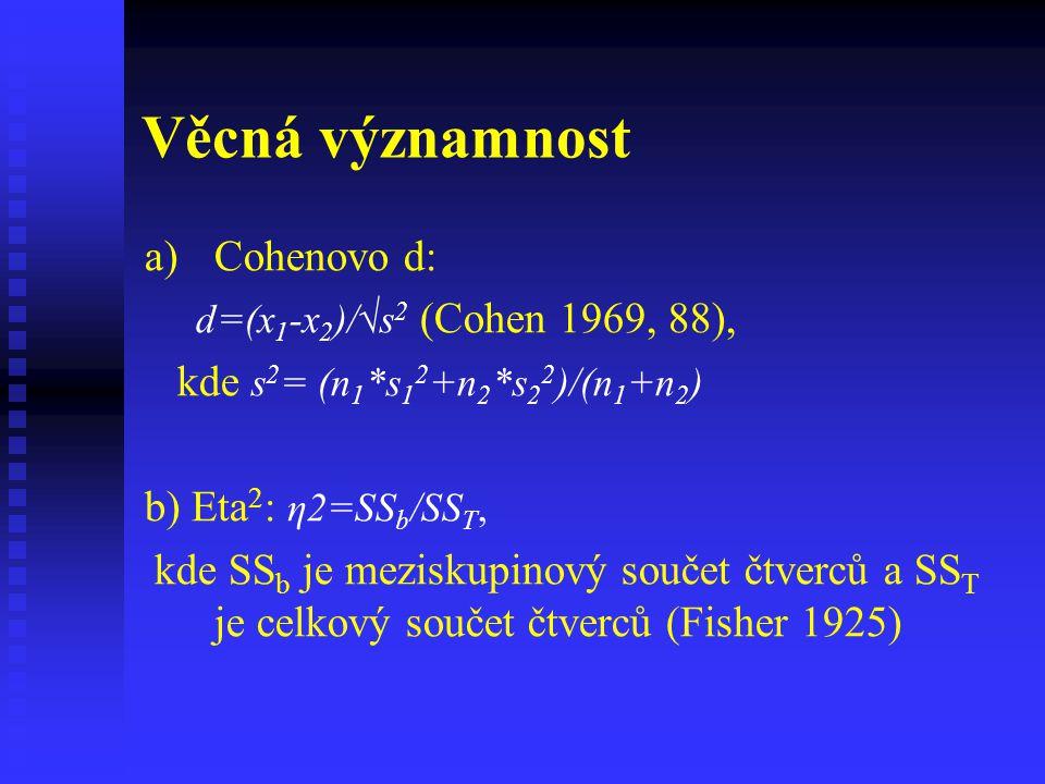 Věcná významnost a) a)Cohenovo d: d=(x 1 -x 2 )/√s 2 (Cohen 1969, 88), kde s 2 = (n 1 *s 1 2 +n 2 *s 2 2 )/(n 1 +n 2 ) b) Eta 2 : η2=SS b /SS T, kde S