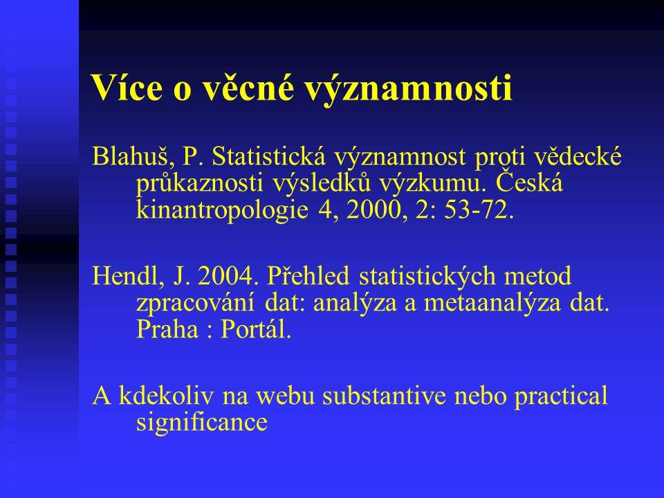 Více o věcné významnosti Blahuš, P. Statistická významnost proti vědecké průkaznosti výsledků výzkumu. Česká kinantropologie 4, 2000, 2: 53-72. Hendl,