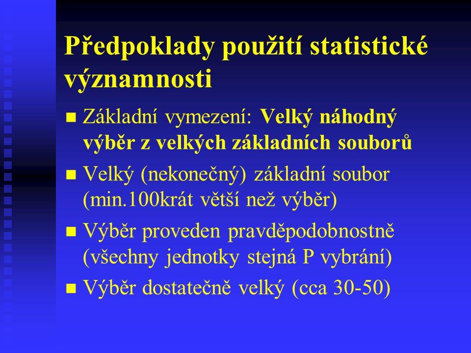Předpoklady použití statistické významnosti Základní vymezení: Velký náhodný výběr z velkých základních souborů Velký (nekonečný) základní soubor (min