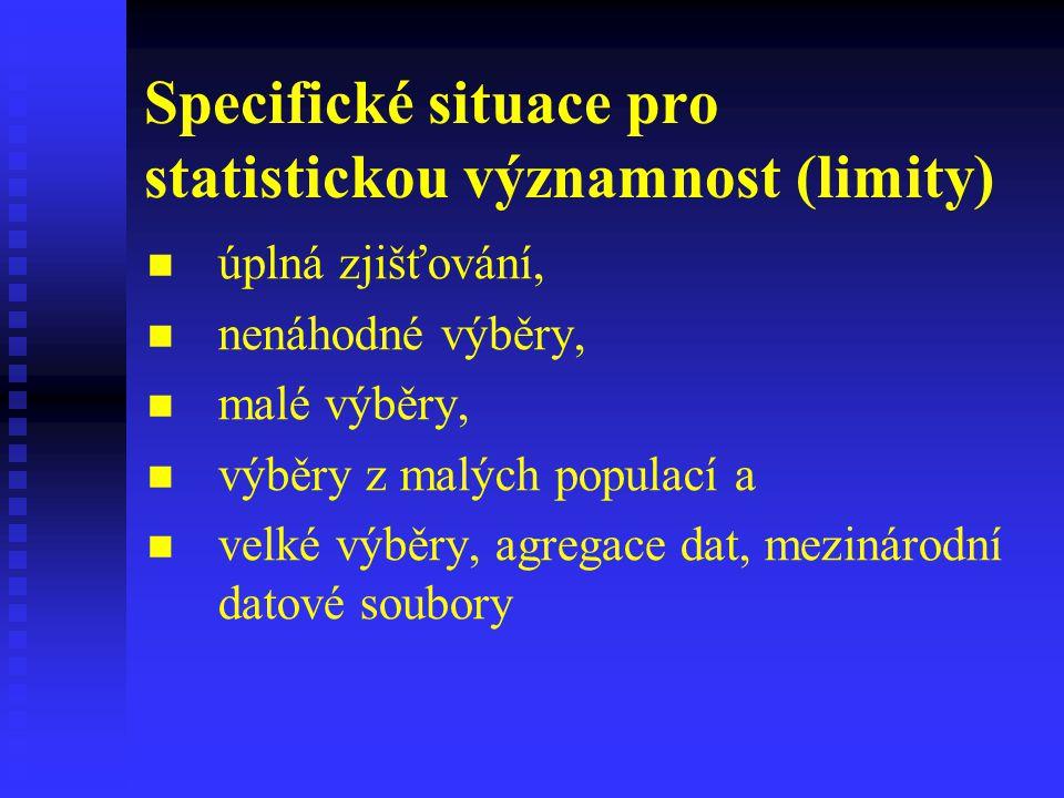 Specifické situace pro statistickou významnost (limity) úplná zjišťování, nenáhodné výběry, malé výběry, výběry z malých populací a velké výběry, agre
