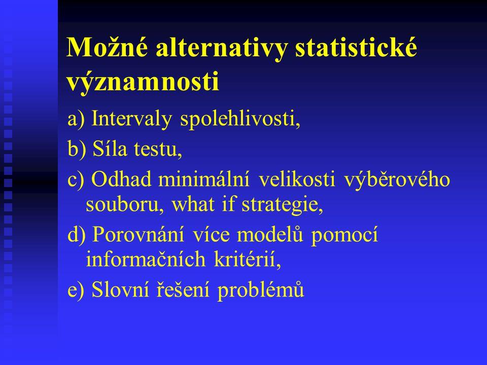 Možné alternativy statistické významnosti a) Intervaly spolehlivosti, b) Síla testu, c) Odhad minimální velikosti výběrového souboru, what if strategi