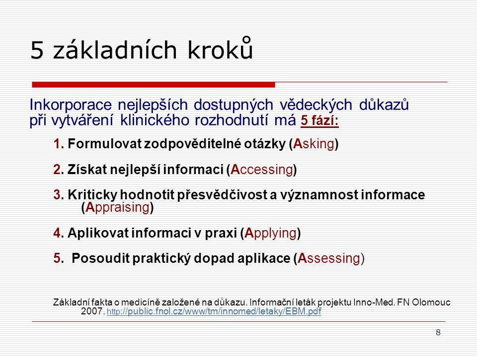 7 Ptát se Získat důkaz Hodnotit důkaz Použít novou znalost Hodnotit intervenci Uplatnění důkazů v praxi Změnit chování Porzsolt et al., EBM, 8, 2003; Guyatt, přednáška na konferenci, Córdoba 2008.