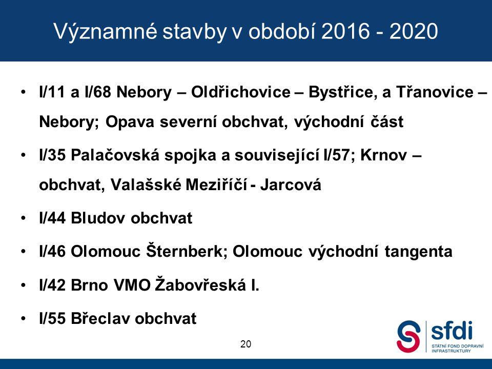 Významné stavby v období 2016 - 2020 I/11 a I/68 Nebory – Oldřichovice – Bystřice, a Třanovice – Nebory; Opava severní obchvat, východní část I/35 Pal