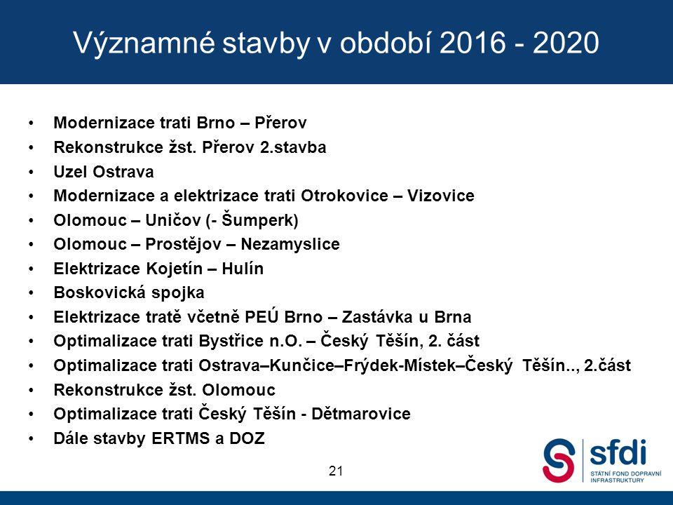 Významné stavby v období 2016 - 2020 Modernizace trati Brno – Přerov Rekonstrukce žst. Přerov 2.stavba Uzel Ostrava Modernizace a elektrizace trati Ot