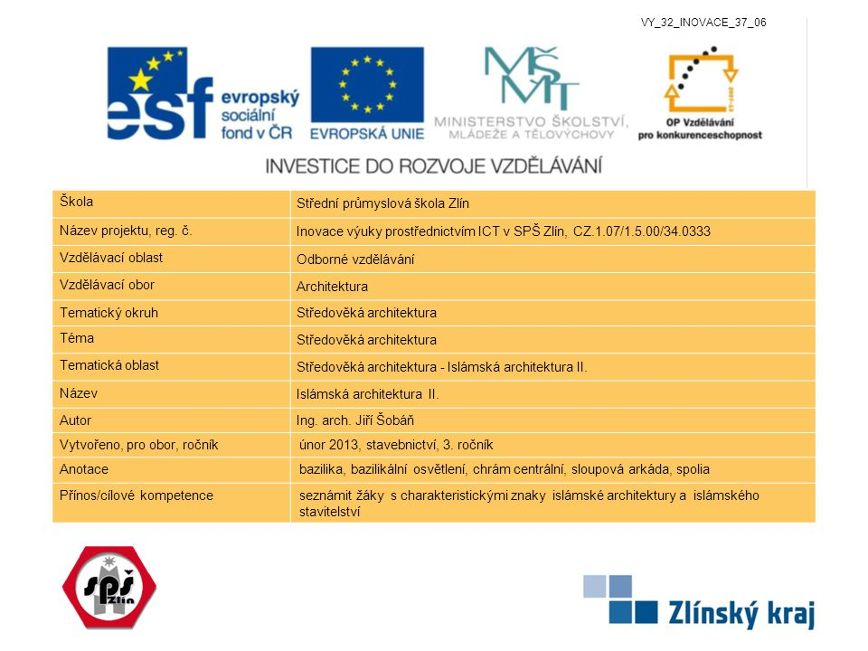 www.zlinskedumy.cz Škola Střední průmyslová škola Zlín Název projektu, reg.