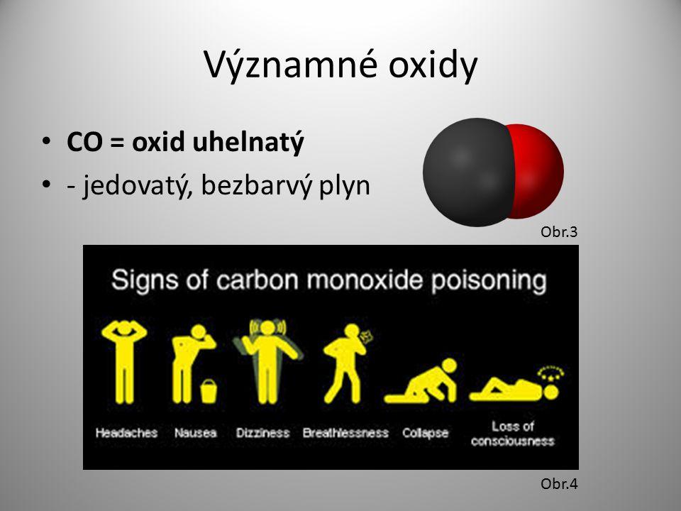 Významné oxidy CO = oxid uhelnatý - jedovatý, bezbarvý plyn Obr.3 Obr.4