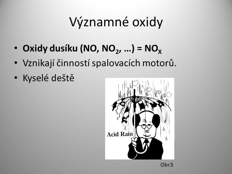 Významné oxidy Oxidy dusíku (NO, NO 2, …) = NO X Vznikají činností spalovacích motorů. Kyselé deště Obr.5