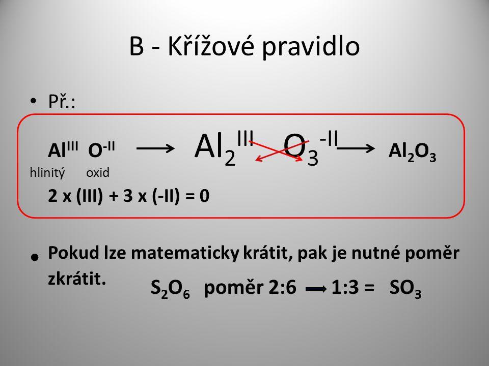 B - Křížové pravidlo Př.: Al III O -II Al 2 III O 3 -II Al 2 O 3 hlinitý oxid 2 x (III) + 3 x (-II) = 0 Pokud lze matematicky krátit, pak je nutné pom