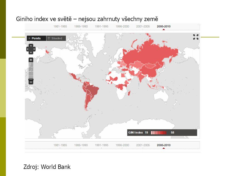 Zdroj: World Bank Giniho index ve světě – nejsou zahrnuty všechny země