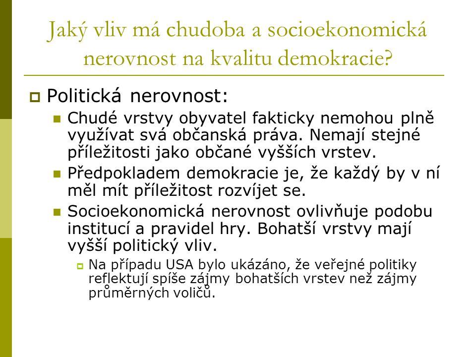 Jaký vliv má chudoba a socioekonomická nerovnost na kvalitu demokracie.