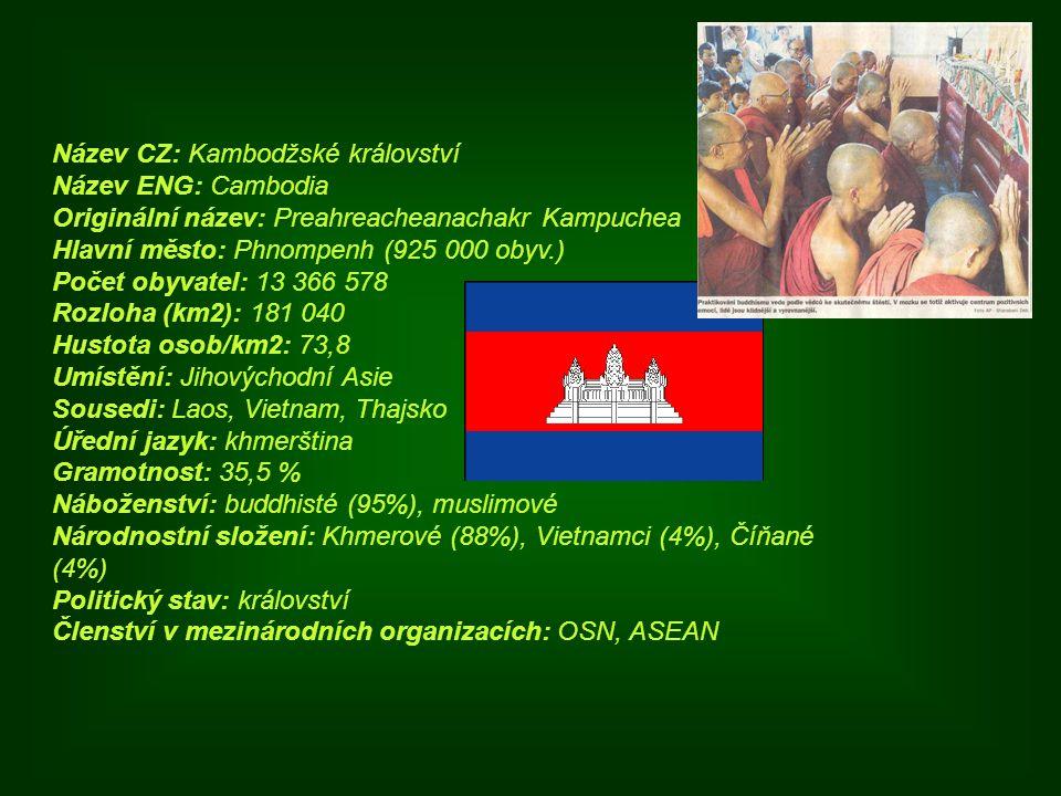Název CZ: Kambodžské království Název ENG: Cambodia Originální název: Preahreacheanachakr Kampuchea Hlavní město: Phnompenh (925 000 obyv.) Počet obyv