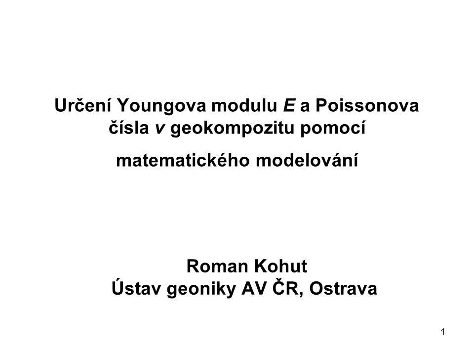 1 Určení Youngova modulu E a Poissonova čísla ν geokompozitu pomocí matematického modelování Roman Kohut Ústav geoniky AV ČR, Ostrava