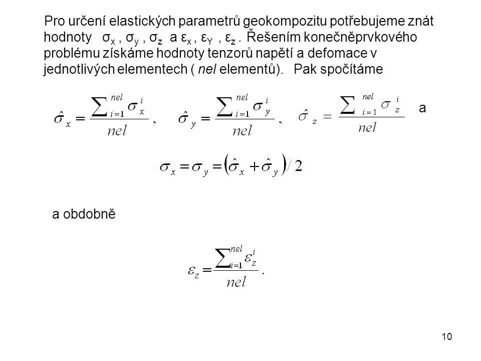 10 Pro určení elastických parametrů geokompozitu potřebujeme znát hodnoty σ x, σ y, σ z a ε x, ε Y, ε z. Řešením konečněprvkového problému získáme hod