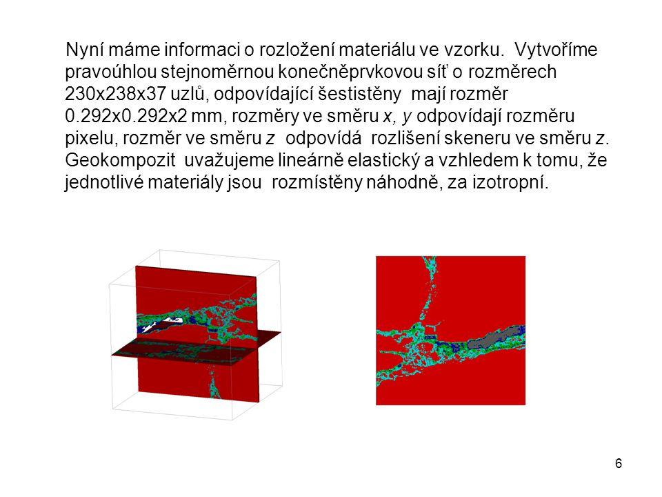 6 Nyní máme informaci o rozložení materiálu ve vzorku. Vytvoříme pravoúhlou stejnoměrnou konečněprvkovou síť o rozměrech 230x238x37 uzlů, odpovídající