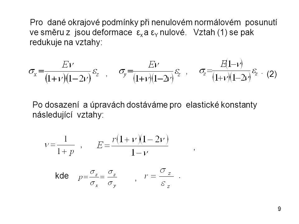9 Pro dané okrajové podmínky při nenulovém normálovém posunutí ve směru z jsou deformace ε x a ε Y nulové. Vztah (1) se pak redukuje na vztahy: Po dos