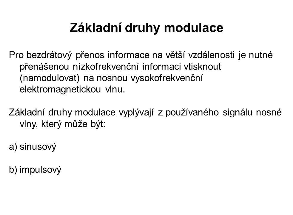 Základní druhy modulace Pro bezdrátový přenos informace na větší vzdálenosti je nutné přenášenou nízkofrekvenční informaci vtisknout (namodulovat) na