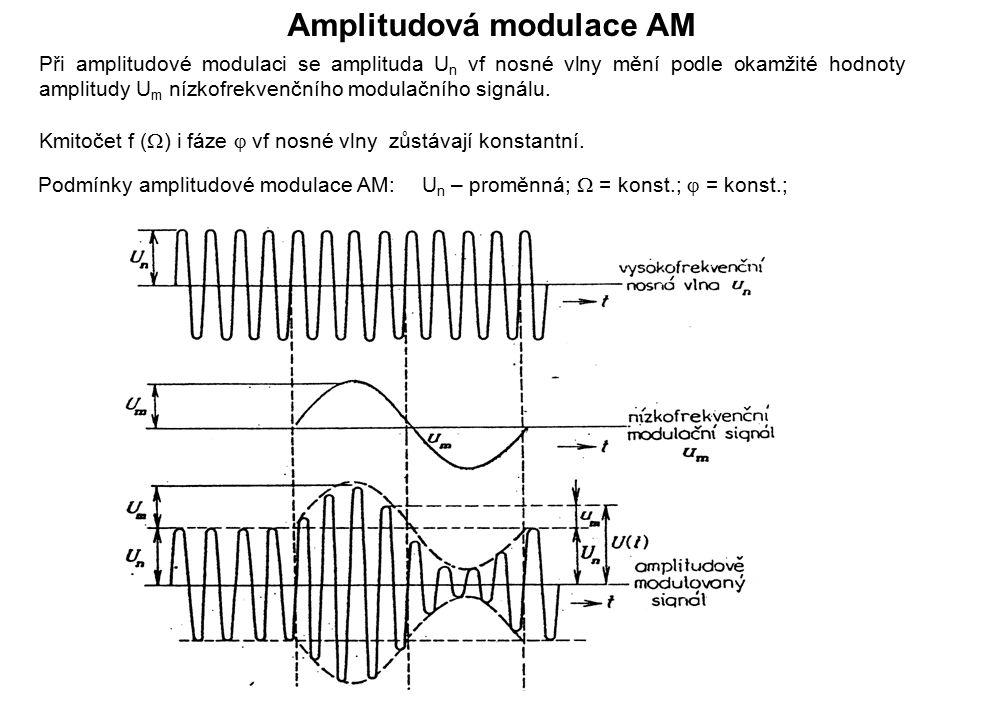 Amplitudová modulace AM Podmínky amplitudové modulace AM:U n – proměnná;  = konst.;  = konst.; Při amplitudové modulaci se amplituda U n vf nosné vl