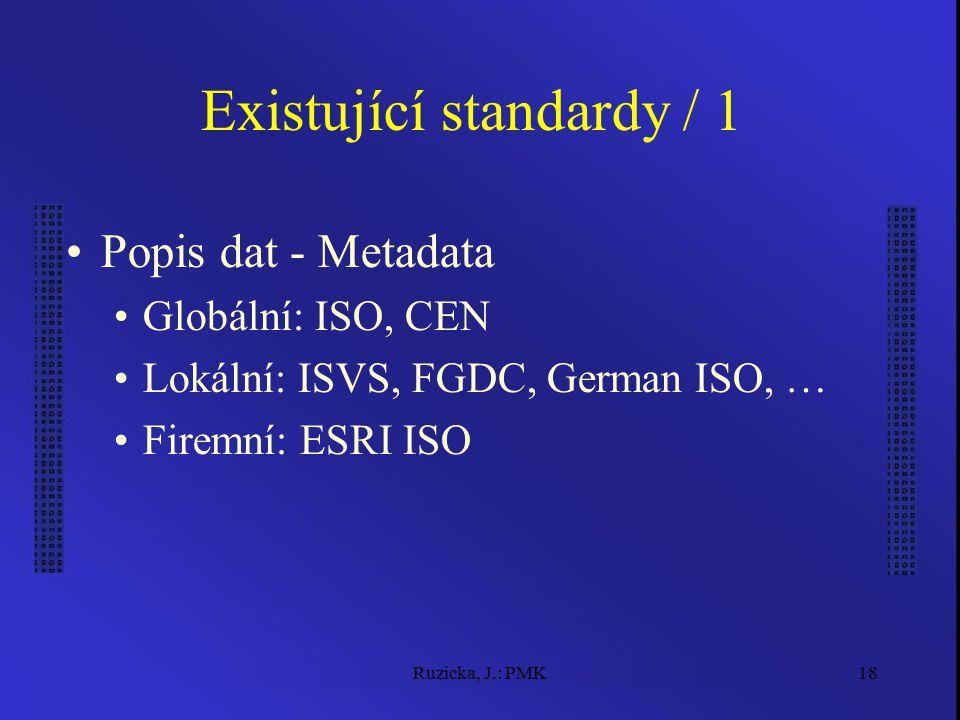 Ruzicka, J.: PMK18 Existující standardy / 1 Popis dat - Metadata Globální: ISO, CEN Lokální: ISVS, FGDC, German ISO, … Firemní: ESRI ISO