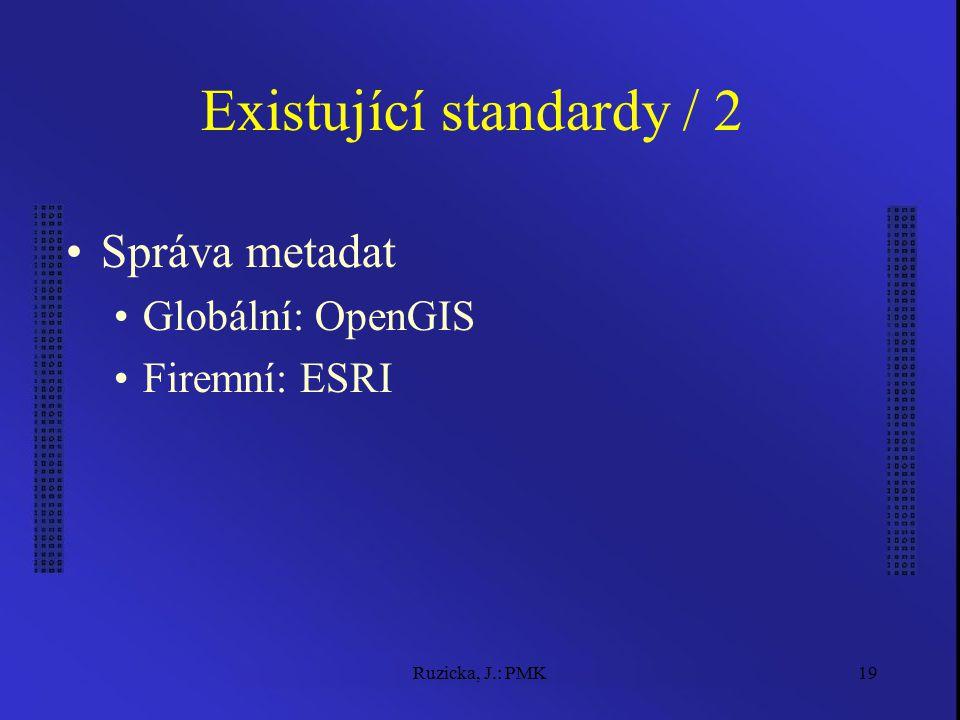 Ruzicka, J.: PMK19 Existující standardy / 2 Správa metadat Globální: OpenGIS Firemní: ESRI
