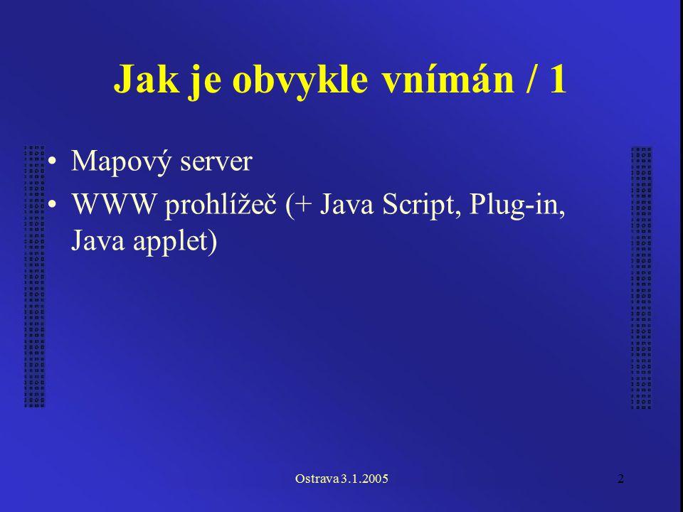 Ostrava 3.1.20052 Jak je obvykle vnímán / 1 Mapový server WWW prohlížeč (+ Java Script, Plug-in, Java applet)