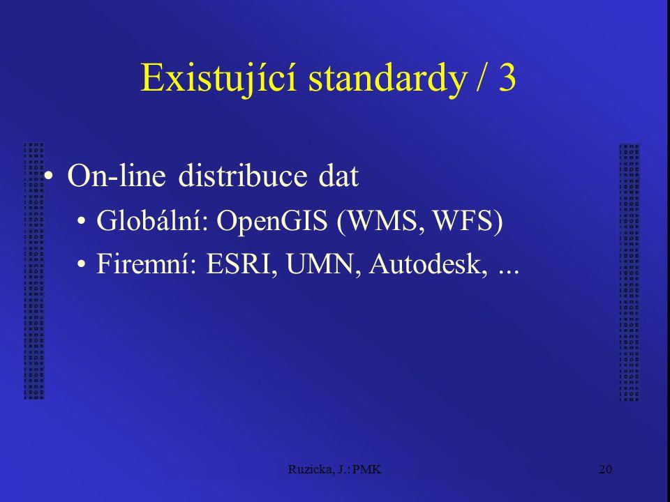 Ruzicka, J.: PMK20 Existující standardy / 3 On-line distribuce dat Globální: OpenGIS (WMS, WFS) Firemní: ESRI, UMN, Autodesk,...