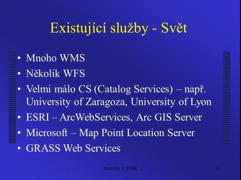 Ruzicka, J.: PMK23 Existující služby - Svět Mnoho WMS Několik WFS Velmi málo CS (Catalog Services) – např. University of Zaragoza, University of Lyon