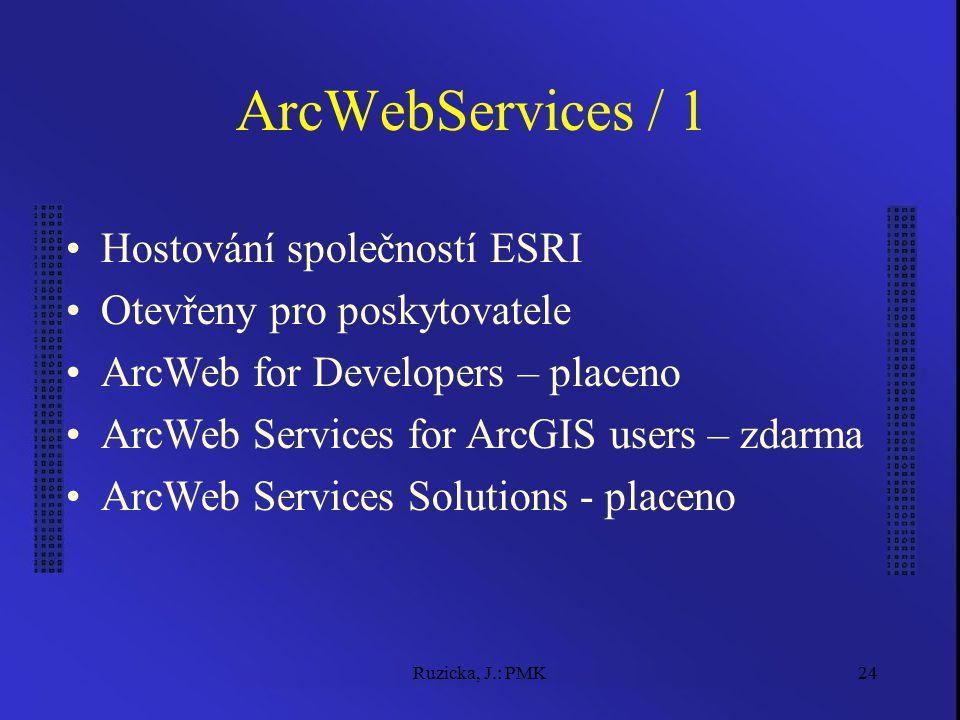 Ruzicka, J.: PMK24 ArcWebServices / 1 Hostování společností ESRI Otevřeny pro poskytovatele ArcWeb for Developers – placeno ArcWeb Services for ArcGIS