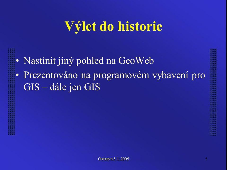 Ostrava 3.1.20055 Výlet do historie Nastínit jiný pohled na GeoWeb Prezentováno na programovém vybavení pro GIS – dále jen GIS