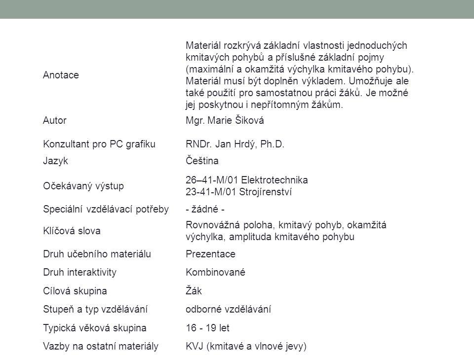 MECHANICKÉ KMITÁNÍ 03. Harmonické kmitání Mgr. Marie Šiková KMITAVÉ A VLNOVÉ JEVY www.zlinskedumy.cz
