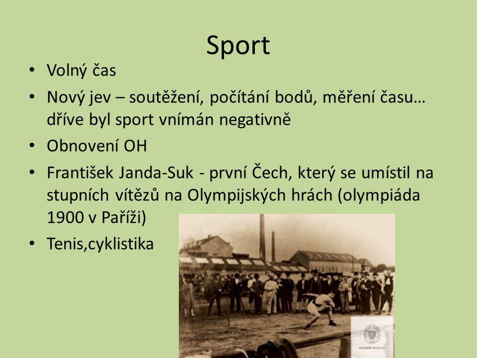 Sport Volný čas Nový jev – soutěžení, počítání bodů, měření času… dříve byl sport vnímán negativně Obnovení OH František Janda-Suk - první Čech, který