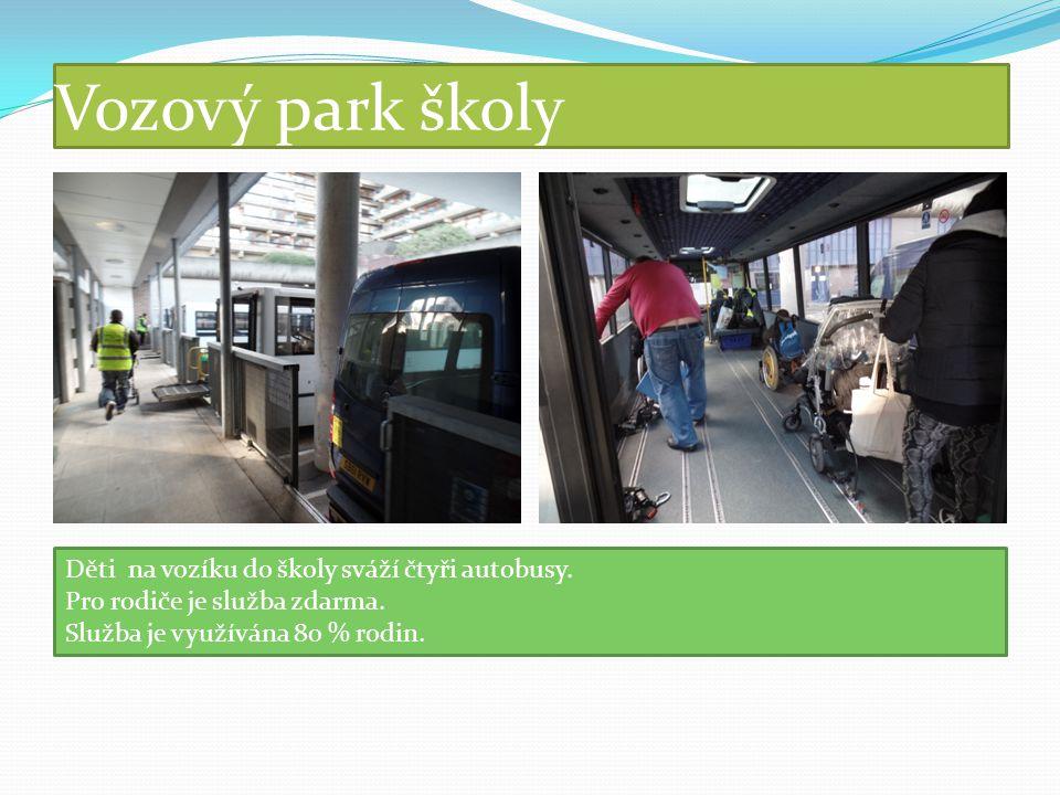 Vozový park školy Děti na vozíku do školy sváží čtyři autobusy.