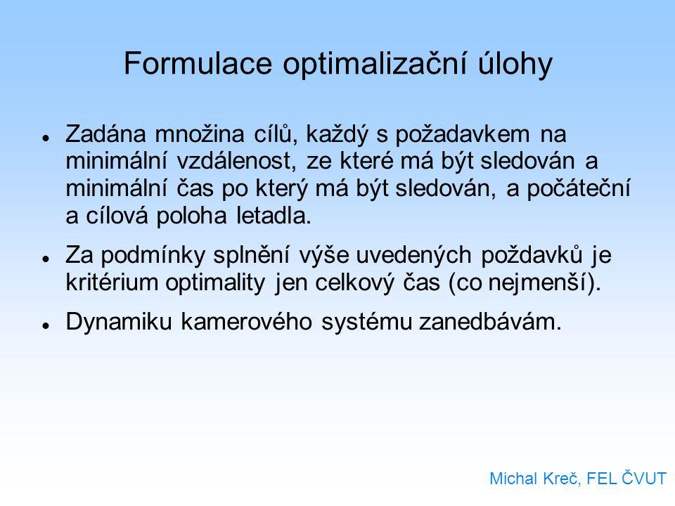 Formulace optimalizační úlohy Zadána množina cílů, každý s požadavkem na minimální vzdálenost, ze které má být sledován a minimální čas po který má být sledován, a počáteční a cílová poloha letadla.