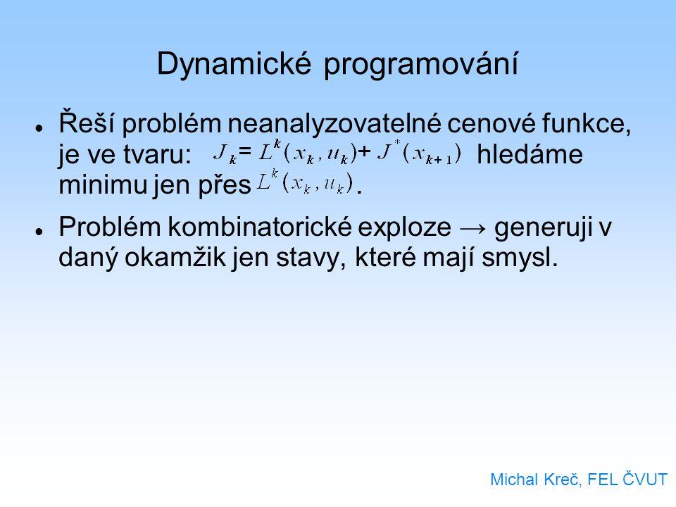 Dynamické programování Řeší problém neanalyzovatelné cenové funkce, je ve tvaru: hledáme minimu jen přes. Problém kombinatorické exploze → generuji v