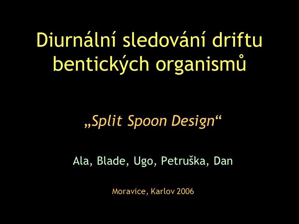 """Diurnální sledování driftu bentických organismů """"Split Spoon Design Ala, Blade, Ugo, Petruška, Dan Moravice, Karlov 2006"""