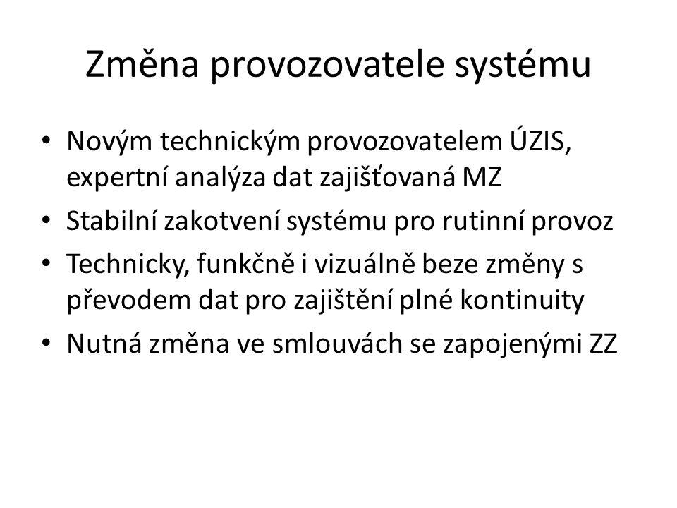 Změna provozovatele systému Novým technickým provozovatelem ÚZIS, expertní analýza dat zajišťovaná MZ Stabilní zakotvení systému pro rutinní provoz Te