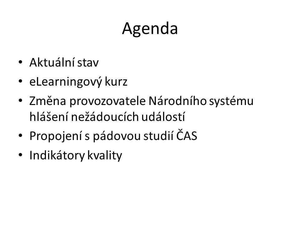 Agenda Aktuální stav eLearningový kurz Změna provozovatele Národního systému hlášení nežádoucích událostí Propojení s pádovou studií ČAS Indikátory kv