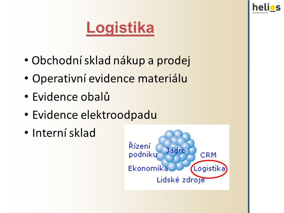 Logistika Obchodní sklad nákup a prodej Operativní evidence materiálu Evidence obalů Evidence elektroodpadu Interní sklad