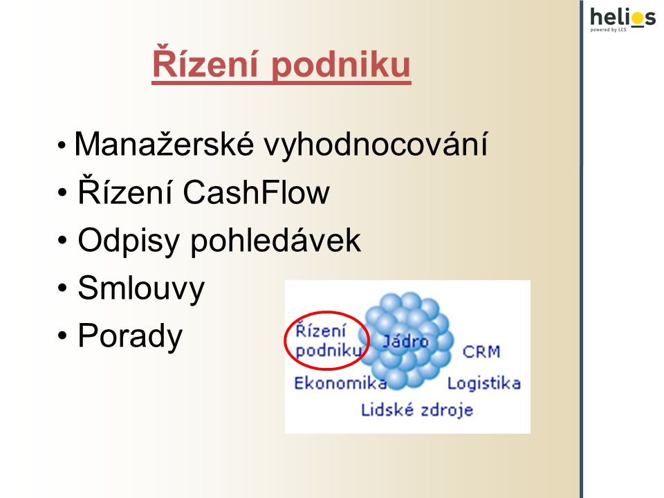 Řízení podniku Manažerské vyhodnocování Řízení CashFlow Odpisy pohledávek Smlouvy Porady