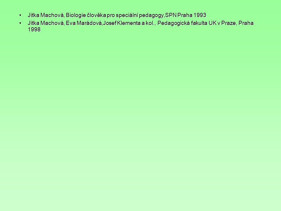Jitka Machová, Biologie člověka pro speciální pedagogy,SPN Praha 1993Jitka Machová, Biologie člověka pro speciální pedagogy,SPN Praha 1993 Jitka Machová, Eva Marádová,Josef Klementa a kol., Pedagogická fakulta UK v Praze, Praha 1998Jitka Machová, Eva Marádová,Josef Klementa a kol., Pedagogická fakulta UK v Praze, Praha 1998